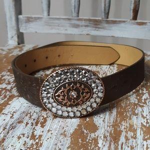 BRONZE LEATHER jeweled oval hook belt embossed